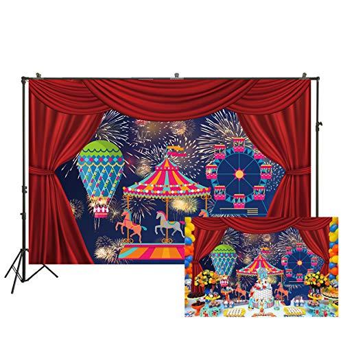 Fondo de fotografía de circo rojo Fondo de foto de fiesta de cumpleaños Decoración de mesa de pastel para niños Banner 220 x 150 cm W-2070