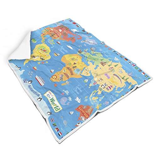 kikomia Karikatur Tier Weltkarte Kompass Landkarte Druck Super Weich Fleece Decke Werfen Fantasie Picknickdecke Wohnzimmerdekoration Erwachsene&Kleinkind White 150x200cm