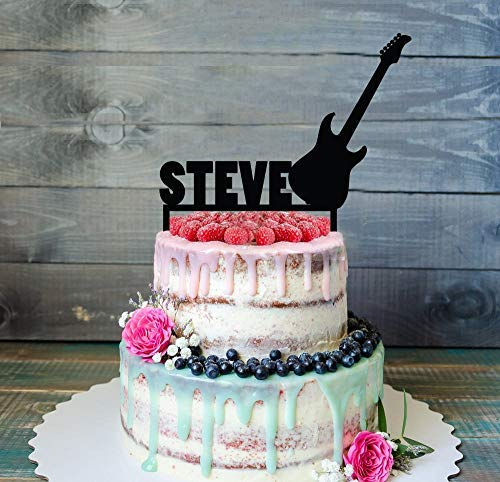 Montrwie Lustige Tortenaufsatz E-Gitarre Rock Star Geburtstag Kuchen Topper Silhouette Geburtstag Kuchen Topper Funny Cake Topper Birthday Cake Topper