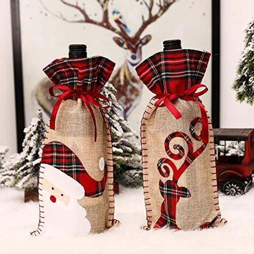 favourall 2 x Weihnachts-Weinflaschen-Überzug, Leinen, Weihnachtsmann, Hirsch, Wein-Geschenktüten mit Kordelzug, für Weihnachtsparty, Tischdekoration