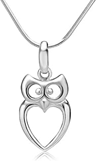Chuvora 925 Sterling Silver Owl Bird Heart Shaped Charm Pendant Necklace, 18 inches