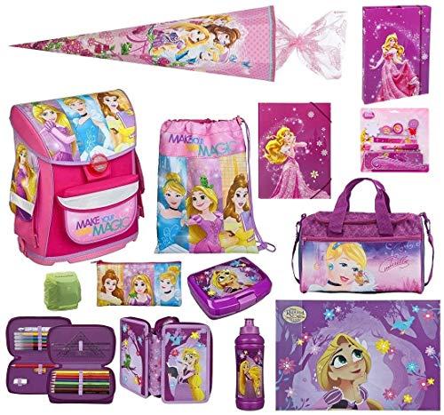 Scooli Schulranzen-Set Disney Princess Prinzessin-nen nur 820 Gramm 13-tlg. mit Brotzeit-Dose, Trink-Flasche, Sporttasche, Schultüte 85cm und Regenschutz Mädchen-Schulranzen ab der 1. Klasse