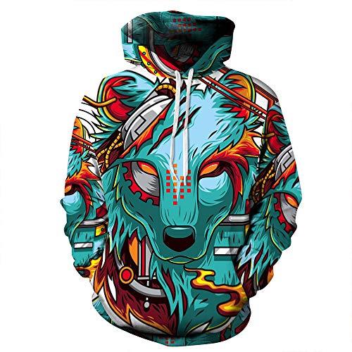 Lozse Unisex 3D print hoodies kleurrijke wolfskop 3D hoodie pullover bedrukken mannen en vrouwen sweatshirt paar jas