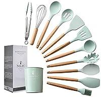 12 pezzi utensili cucina silicone,set cucina silicone,manico legno/non tossico/resistenza al calore/antiaderente/non tossico/regalo per la famiglia,verde