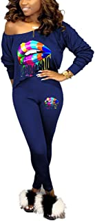Nimsruc Womens Sexy Club 2 Piece Outfits Long Sleeve Hot 2 Pcs Colorful Lip Print Matching Clothing 2019 Skew Neck Pants S...