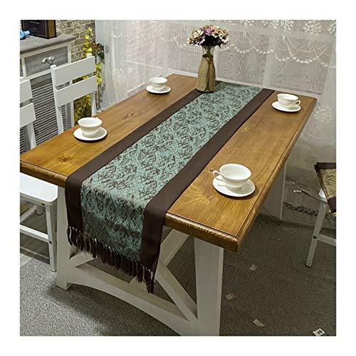Rubyia Table Runner, Empalme Simple de Hojas Abstractas con Borlas Corredor Mesa Decoración Mesa Comedor, Algodón Lino, 38 x 180 cm, Verde Marrón