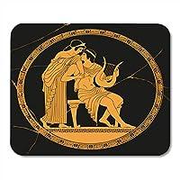 マウスパッドヴィンテージギリシャ国立図面神話プロットパリ盗む黒のアンティークプレートの底にエレナノートブック、デスクトップコンピューターオフィス用品のマウスパッド