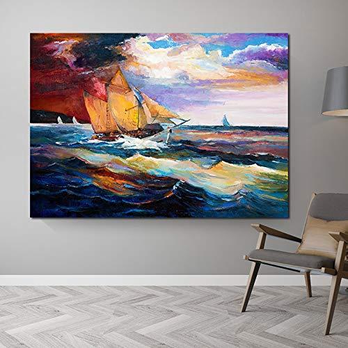 Ozean Kunst Schiff Poster Landschaft Bild Ölgemälde Leinwand Kunst Wohnzimmer Dekoration Poster und Druck drucken rahmenlose Malerei 40X50cm