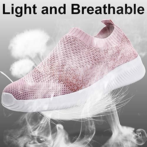 Gaatpot Mujer Zapatillas Casual Mocasines Mesh Calzados para Correr en Asfalto Zapatillas de Estar por Casa Deportivo de Exterior Zapatos Pink 35.5/36EU=36CN
