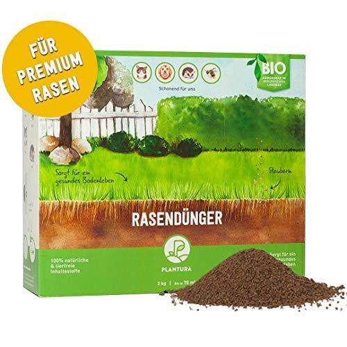 Plantura Bio Rasendünger mit 3 Monate Langzeit-Wirkung, ideal im Frühjahr und Sommer, Dünger gegen Moos, staubarmes Granulat, unbedenklich für Haustiere, tierfreundlich, Langzeitdünger, Rasen Dünger…
