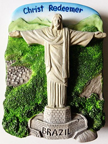 Christ Redeemer Rio De Janeiro Statue Brazil Resin 3D fridge Refrigerator Thai Magnet Hand Made Craft. by Thai MCnets