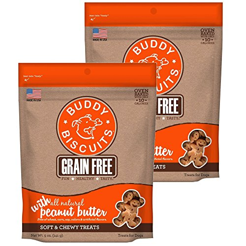 Buddy Biscuits Grain Free Soft & Chewy Dog Treats with All Natural Peanut Butter (2 Pack) 5 oz Each