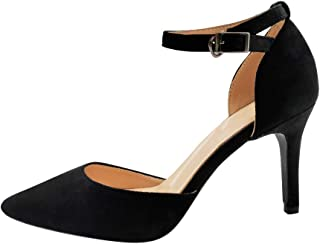 17b229c21af4c5 uirend Femme Escarpins Chaussures - Boucle Bride à La Cheville Talon Haut  Sandales Bout Pointu Talon