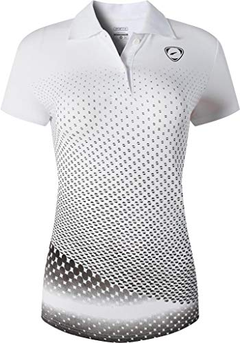 jeansian Women's Sports Breathable Quick Dry Short Sleeve Tennis Golf Bowling Polo T-Shirts Tee SWT251 Whiteblack M