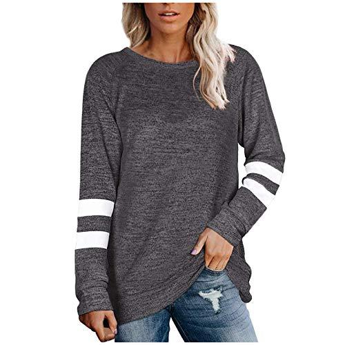 Chejarity Damen Langarm Farbblock Tunika Streifen Rundhals T-Shirt Bluse Langarmshirt Frauen Basic Top Elegant Oberteile (L, Dunkelgrau)