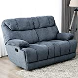 CANMOV Recliner Chair Manual Reclining Loveseat Sofa (2 Seater, Blue)