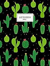 Sketchbook: Cactus on black cover Sketchbook for Girls: 110 Pages of 8.5
