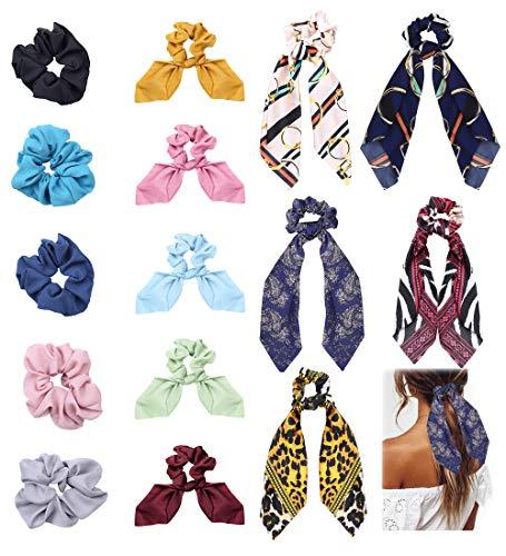 Milacolato 15 Unids Gomas para el Cabello de Raso de Seda Chiffon Bow Gomas para el Cabello Bufanda para la Cabeza 2 en 1 Vintage Suave Satén Bowknot Lazos Elásticos para Mujeres Niñas