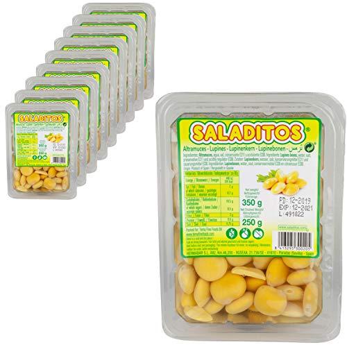 Saladitos Turmos - Weiße Lupinenbohnen gekocht und eingelegt in Salzlake - Lupinen Bohnen im 10er Set á 350 g Packung