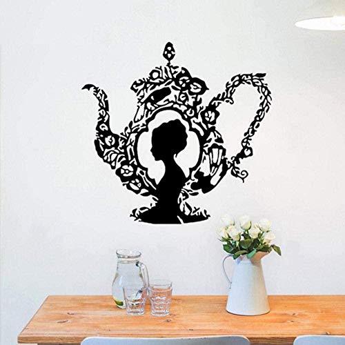 Muursticker Decal Muursticker Theepot Patroon Vrouwenkop Modern Design Woonkamer Art muurschildering Home Decor 60 * 57