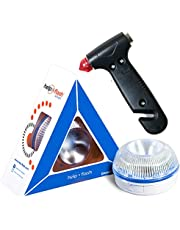 HELP FLASH SMART - luz emergencia AUTÓNOMA preseñalización de peligro y linterna, homologada, normativa DGT, V16, activación AUTOMÁTICA + MARTILLO rompeventanas y cortador de cinturón de seguridad