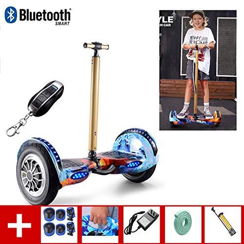 QX Scooter de 10 \'Hoverboard Two Wheel Smart Self Balance Scooter con Control Remoto Inalámbrico Y Pasamanos de Seguridad de Longitud Ajustable, con Altavoz Bluetooth, para Niños Y Adultos + un Conju