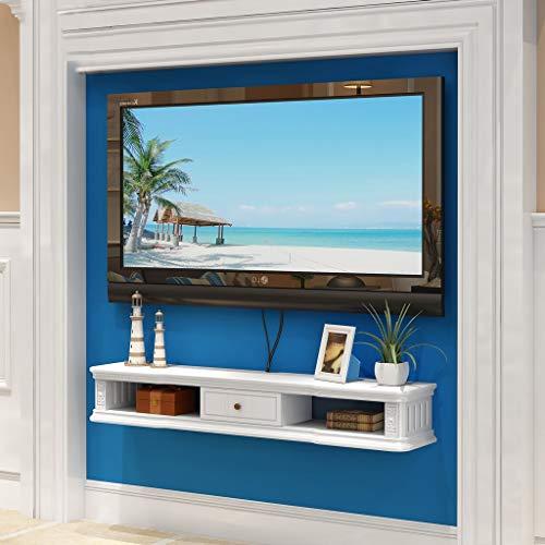 Wandmontage TV-kast Zwevende plank Wandplank TV Achtergrond Wanddecoratie Plank Boekenplank TV Console Collectibles, Foto-Display Plank (Kleur : Wit, Maat : 80cm)