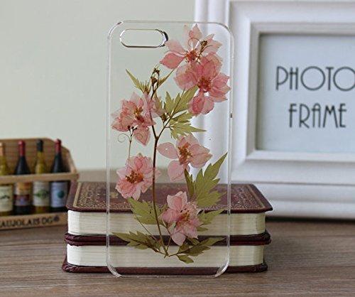 Funda y cubierta hecha a mano para iPhone 7 Real Flower iPhone 7 Caso iPhone 7 Carcasa de silicona suave y transparente