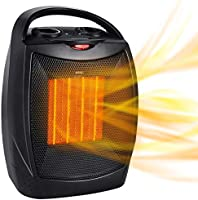 Portable Electric Space Heater with Thermostat, 1500W/750W Safe & Quiet Ceramic Heater Fan, Heat Up 200 sq. Ft for...