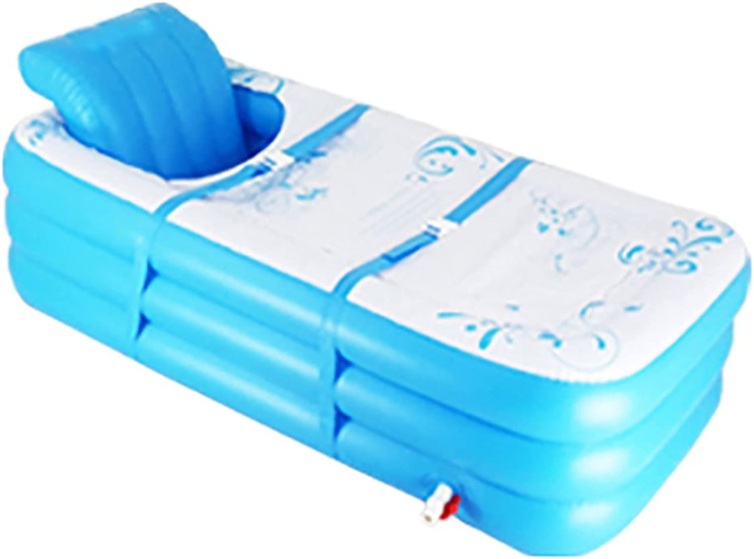 ZELIAN-Aerated Bathtub Adult Electric Pump Inflatable Bathtub New Thicken Baby Pool Portable Folding Extended Bath Plastic bluee (Size   130cm)