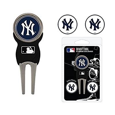Team Golf MLB New York Yankees Divot Tool with 3 Golf Ball Markers Pack, Markers are Removable Magnetic Double-Sided Enamel