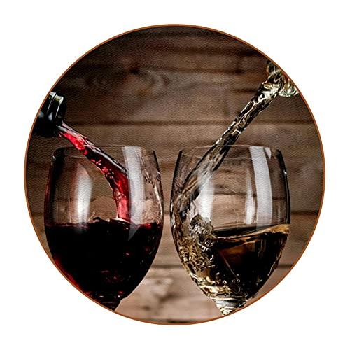 6 uds Posavasos de café de Cuero Redondos Posavasos de Barra Resistentes al Calor Copa para el hogar o la Barra Bebidas de Vino con Botellas de Vidrio.