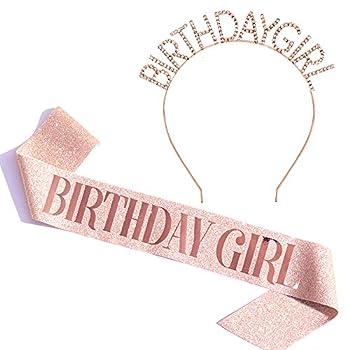 Birthday Girl Sash & Rhinestone Headband Set - Birthday Sash Birthday Gifts for Women Birthday Party Supplies  Rose Gold Glitter