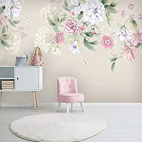 XHXI Nórdico minimalista rosa flor blanca planta arte impresión carteles de gran tamaño decoración d Pared Pintado Papel tapiz 3D Decoración dormitorio Fotomural sala sofá pared mural-250cm×170cm