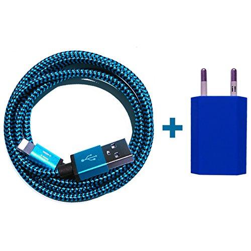 Nylon USB 8-Pin oplaadkabel datakabel oplader compatibel met [Apple iPhone XS XR XS Max X 10 8 8Plus 7 7Plus 6S 6SPlus 6 6Plus 5S 5C 5 SE | iPad | iPod] bont 2m Premium blau + Netzteil