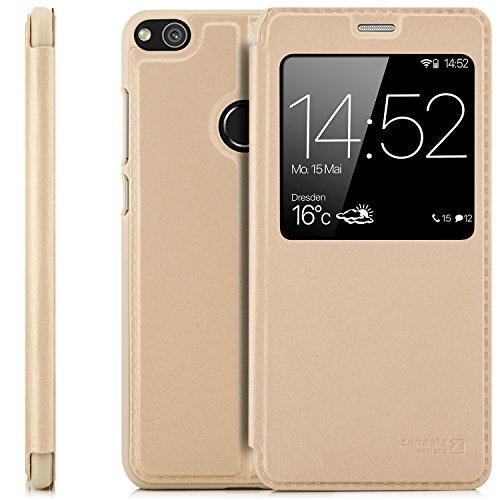 zanasta Coque Huawei P8 Lite (2017) (Pra-LX1) Etui Housse Protection Ultra Mince Case Flip View Cover avec Fenêtre et Protection de la Caméra, Or