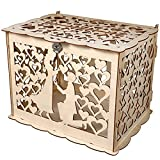 PAFUWEI DIY Rustic Wedding Card Box, Wedding Money Box Holder with Lock and Card Sign Wooden Envelop Gift Card Boxes, for Reception Wedding, Bridal Shower and Anniversary (Boys & Girls)