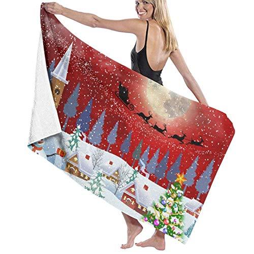 Asciugamani da bagno Natale Pupazzo di neve Luna Asciugamano da spiaggia Decorazioni per la doccia Bagno estivo per unisex Asciugamani per lavaggio ad asciugatura rapida lunghi super assorbenti