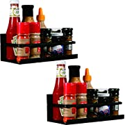 YCOCO Magnetic Spice Rack Organizer Single Tier Refrigerator Spice Storage Shelf, Easy to Install the Side of Refrigerator Can Hold spices, Jar of Olive Oil, Cooking Oils, Salt, Pepper,Black Pack of 2