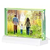 Boxalls 4x6'' Acrylic Picture Frame with Led Frame Base, Desktop Frameless Photo Frame with Magnetic, Double Sided Transparent
