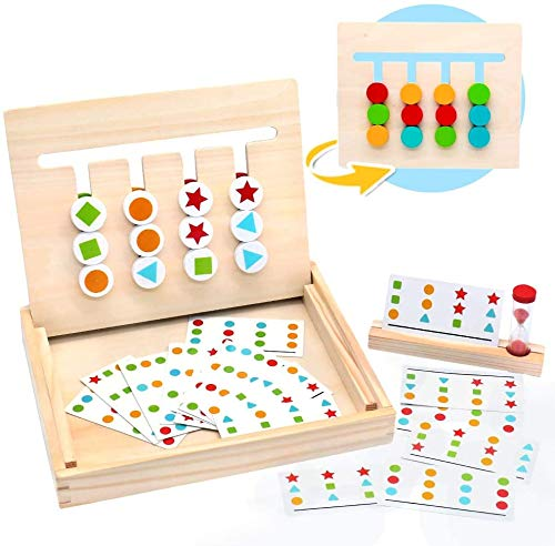 Fajiabao Montessori Toys Color Shape Sorting Logic Game Puzzle Educational Learning Wooden Toys Match Board Games Sand Timer Maze Slide Family Game Autism Toy Birthday Gifts for Boys Girls Kids