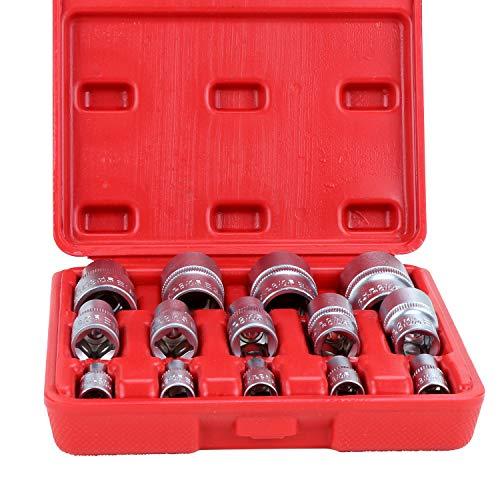 HSAEMALL 14-teiliges Torx-Stern-Steckschlüssel-Set, Typ E, weiblich, E-Torx Sechskant-Stecknuss-Einsatz für Autos, LKW, Motorräder, ATV