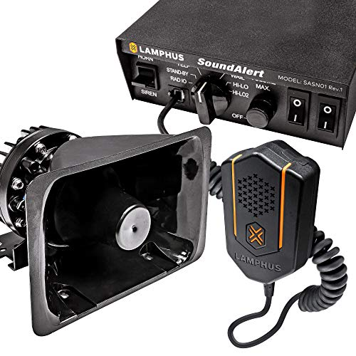 SoundAlert 100W Emergency Police Siren Kit [120-130dB Bullhorn Speaker] [2 x 20A Switch Control] [Hands-Free Air Horn] [PTT Mic] [Radio Rebroadcast] Warning PA System for Emergency Vehicle Trucks Cars
