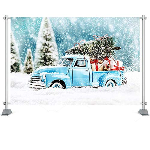Fondo de fotografía Árboles de Navidad Corona de Ventana Fondo de Nieve de Invierno Casa de Madera Sesión de Fotos Prop A11 10x7ft / 3x2.2m