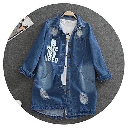 9XL Más el Tamaño de Primavera Otoño Largo Denim Chaqueta de las Mujeres Casual Desgastado Agujero Carta Suelta Jeans Abrigo Mujer Oversize Outwear