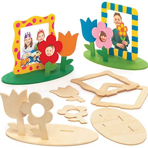 """Baker Ross Bilderrahmen-Bastelsets """"Blumengarten"""" aus Holz (4 Stück) – für Kinder zum Basteln, Gestalten und als Dekoidee"""