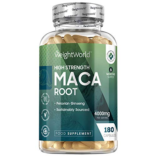Maca Andina Cápsulas Pura Concentrada Vegana 4000 mg 180 Cápsulas - Suplemento Maca Root para 6 Meses Suministro, Reduce Cansancio Y Fatiga, Suplemento Deportivo, Para Hombre y Mujer
