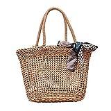 [LoFee]かごバッグ トートバッグ 透かし編み 天然素材 手作りレディースバッグ ビッグ 夏用 カーキ