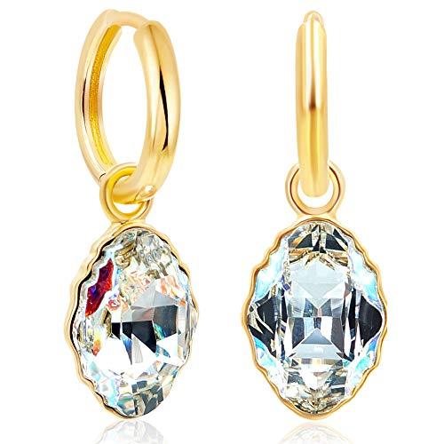 Gold Creolen mit Kristallen von Swarovski® 925 Sterling Silber vergoldet NOBEL SCHMUCK