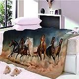YASHASHII- Kuscheldecke Flanell Mikrofaser 180x200cm 3D Galoppierendes Pferd-Tier Gedruckte Decke Fleecedecke Weich Wohndecke Tagesdecke Dicke Sofadecke zweiseitige Decke Sofa und Bett